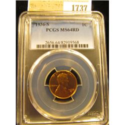 1737 _ 1936 S Lincoln Cent, PCGS slabbed MS64RD