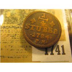 1741 _ 1784 P.M. Julich-Bery German States, KM # 205 1/4 Stuber
