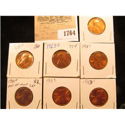 1764 _ 1969 P, D, S, 1981 P, D, 83 P, & D U.S. Lincoln Cents, Unc to Red Gem BU U.S.