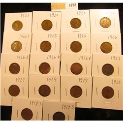 1768 _ (4) 1920P, (1) S, 25P, (2) 26P, (3) D, (2) 27P, (3) 29P, & (2) S Wheat Cents, most are Fine t