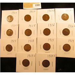 1769 _ (2) 1920P, (1) D, (2) S, 25P, 26P, (1) D, 27P, 28P, (2) 29P, & (2) S Wheat Cents, most are Fi