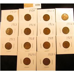 1770 _ (2) 1920P, (1) D, (1) S, 23P, 25P, 26P, (1) D, 27P, 28P, (2) 29P, & (2) S Wheat Cents, most a