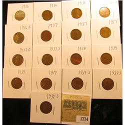 1774 _ (3) 1936P, D, S, (3) 37P, D, S, 38P, (3) 39P, & (3) 39S Wheat Cents, most are VG to F. All ca