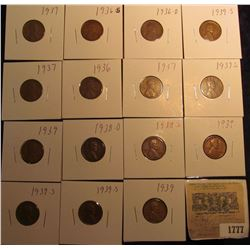1777 _ 1936P, D, S, (3) 37P, S, 38D, S, (3) 39P, & (3) 39S Wheat Cents, most are VG to F. All carded