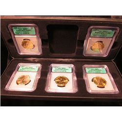 "1817 _ Cased Five-piece President Washington ""Golden"" Dollar Set.  Case has six slots, but only five"