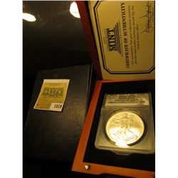 1819 _ Hard wood cased ANACS slabbed 2008 MS70 Silver Eagle First Day of Issue ANACS Certified #0996