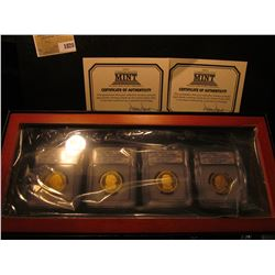 1820 _ First Commemorative Mint Hard Wood Cased Set of slabbed Presidential Dollars. Includes 2007 S