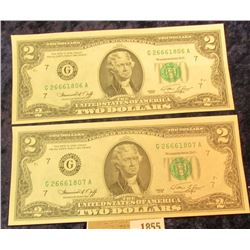1855 _ Pair of Series 1976 Two Dollar Federal Reserve Notes, CU and with Sequential Numbers.