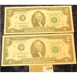 1856 _ Pair of Series 1995 Two Dollar Federal Reserve Notes, CU and with Sequential Numbers.