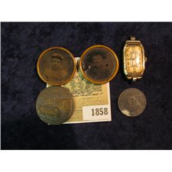 1858 _ Pair of 1860-80 era Portrait Pin-Backs; Caterpillar Diesel Power Medal; 17 Jewel Swiss Moveme