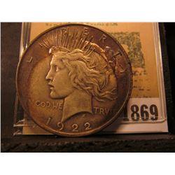 1869 _ 1922 P U.S. Peace Silver Dollar.