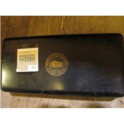 "1871 _ Metal Strong box (lock is loose) ""The First Trust Company St. Jopseph, Missouri"". 5"" x 11"" x"