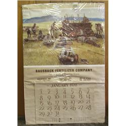 "1872 _ Larger than 2' x 3' Poster Calendar with Western Scene dated 1978 from ""Bausback Fertilizer C"
