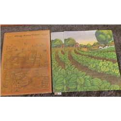 "1873 _ 16"" x 20"" Vinyl Posters of Farm Scenes & a similar size April 1, 1934 mounted cover of the ""C"