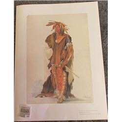 "1874 _ Large 16"" x 20"" Print of ""The Big Soldier"" by Carl Bodmer printed by ""The Lakeside Press"" wit"