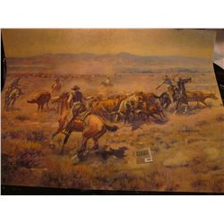 1882 _ Large Print of a C.M. Russell 1913 era Painting of Cowboys lassoing Cattle.