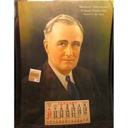 "1888 _ Promotion Calendar from 1935 depicting Franklin D. Roosevelt ""Merchant's Advertisement Of Des"