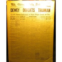 "1895 _ November 3, 1948 ""Chicago Daily Tribune"" Mounted Newspaper with title ""Dewey Defeats Truman""."