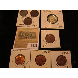 1919 _ 1887, 1899, 1904 Indian Head Cents G-F; 1909 P Lincoln Cent, EF, (3) 53D BU; & 1937 S Buffalo