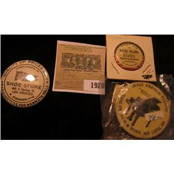 "1920 _ ""Rhode Island States Resaraunt"" Pin-back, ""Jesse French Pianos…New Castle, Ind."" Pin-back; &"