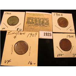 1925 _ 1902 EF, 1903 Good, 04 VF, & 1909 P VF Indian Head Cents.