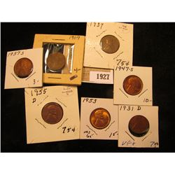 1927 _ 1909 P EF, 31D VF, 37P VG, 37S AU, 47S BU, 53P BU, & 55D AU Lincoln Head Cents.