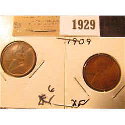 1929 _ 1909 P Indian Cent & Lincoln Cent, both EF.