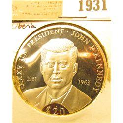 1931 _ 2000 Republic of Liberia Silver Proof $20 John F. Kennedy Commemorative Coin.