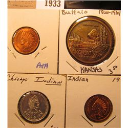 1933 _ (4) Different Indian or Buffalo related Tokens or Medals.