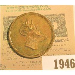 1946 _ Brass Spiel Marke, Wild Pig & a Rag Horn Red Deer depicted. AU. 28mm.