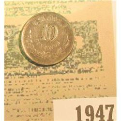 1947 _ 1894 Go Mexico Silver Ten Centavos, VF.