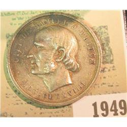 "1949 _ ""Gift of Samuel J. Bridge/MDCCCLXXVIIII"", rev. ""Awarded to Philip G. Edgar 1891"", our testing"