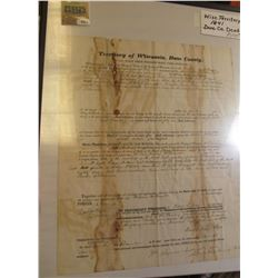 "1974 _ Framed ""Wisconsin Territory 1841 Dane County"" Land Deed."