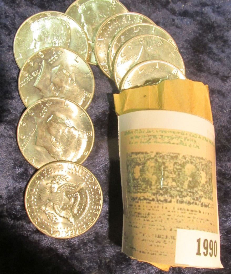 318f6ce8acd83 Image 1 : 1990 _ 1969 D Original BU Roll of 20 forty percent Silver Kennedy  ...
