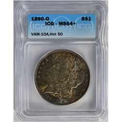 1890-O MORGAN DOLLAR ICG MS64+