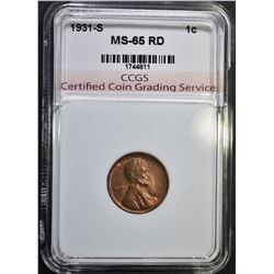 1931-S LINCOLN CENT CCGS GEM BU RD
