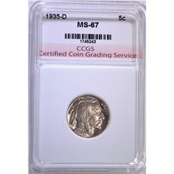 1935-D BUFFALO NICKEL CCGS SUPERB GEM