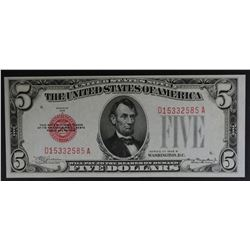 1928 B $5 RED SEAL LEGAL TENDER NOTE