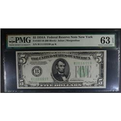 1934A $5 FEDERAL RESERVE NOTE NEW YORK