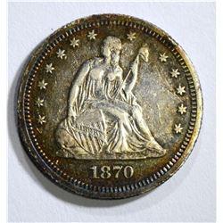 1870 SEATED QUARTER, XF