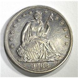 1868 SEATED HALF DOLLAR, CH BU