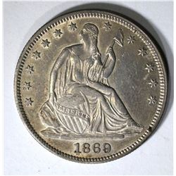 1869 SEATED HALF DOLLAR, CH AU NICE