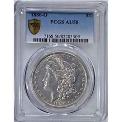 1886-O MORGAN DOLLAR PCGS AU 50