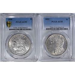 2 - PCGS AU55 MORGAN DOLLARS: 1891 & 1890