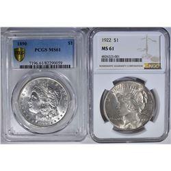 SILVER DOLLAR LOT: 1890 PCGS MORGAN MS61 &