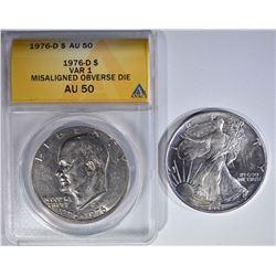 DOLLARS:  1992 AMERICAN SILVER EAGLE $1 BU &