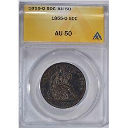 1855-O SEATED LIBERTY HALF DOLLAR