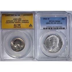 2 COIN LOT:  1964-D KENNEDY HALF DOLLAR
