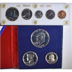 SILVER PROOF SETS: 1957 & 1976 3 PCS