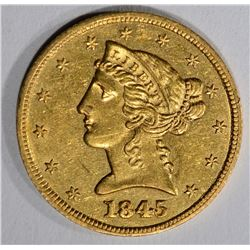1845 $5 GOLD LIBERTY HEAD  CH BU